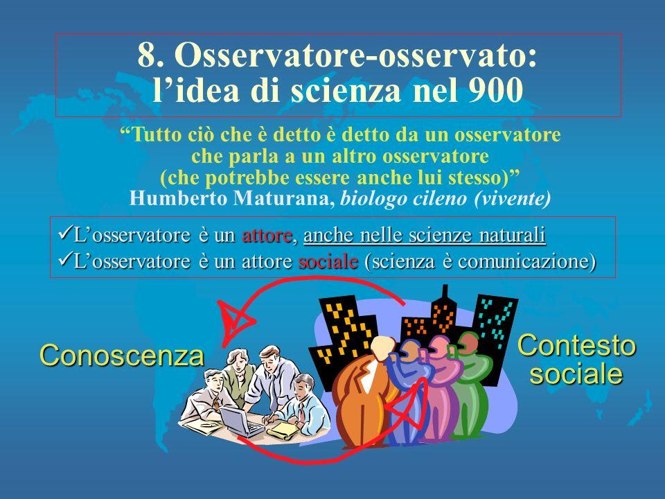 8. Osservatore-osservato: lidea di scienza nel 900 Losservatore è un attore, anche nelle scienze naturali Losservatore è un attore, anche nelle scienz