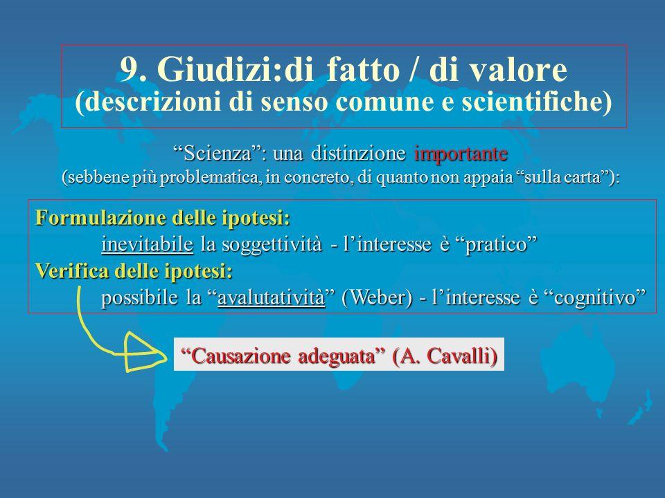 9. Giudizi:di fatto / di valore (descrizioni di senso comune e scientifiche) Formulazione delle ipotesi: inevitabile la soggettività - linteresse è pr