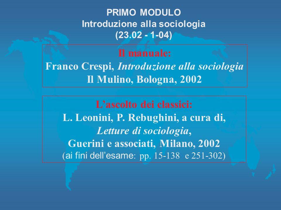 Il manuale: Franco Crespi, Introduzione alla sociologia Il Mulino, Bologna, 2002 Lascolto dei classici: L.