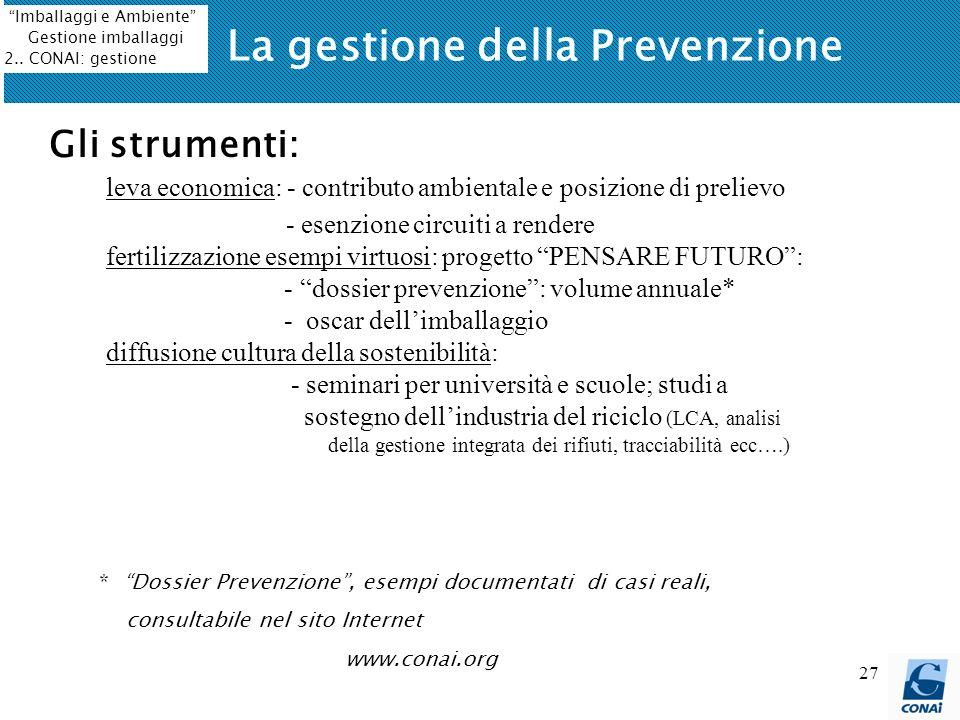 27 La gestione della Prevenzione Gli strumenti: leva economica: - contributo ambientale e posizione di prelievo - esenzione circuiti a rendere fertili