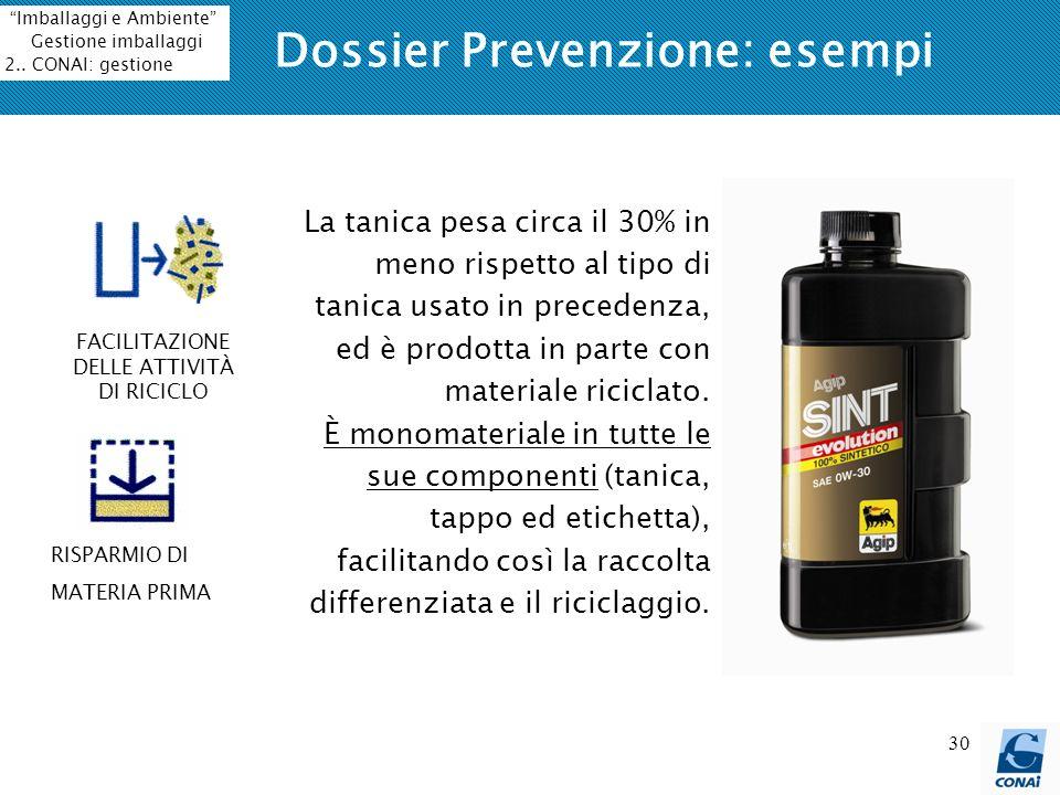 30 Dossier Prevenzione: esempi La tanica pesa circa il 30% in meno rispetto al tipo di tanica usato in precedenza, ed è prodotta in parte con material