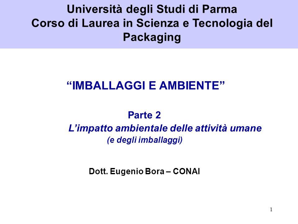 1 IMBALLAGGI E AMBIENTE Parte 2 Limpatto ambientale delle attività umane (e degli imballaggi) Dott. Eugenio Bora – CONAI Università degli Studi di Par