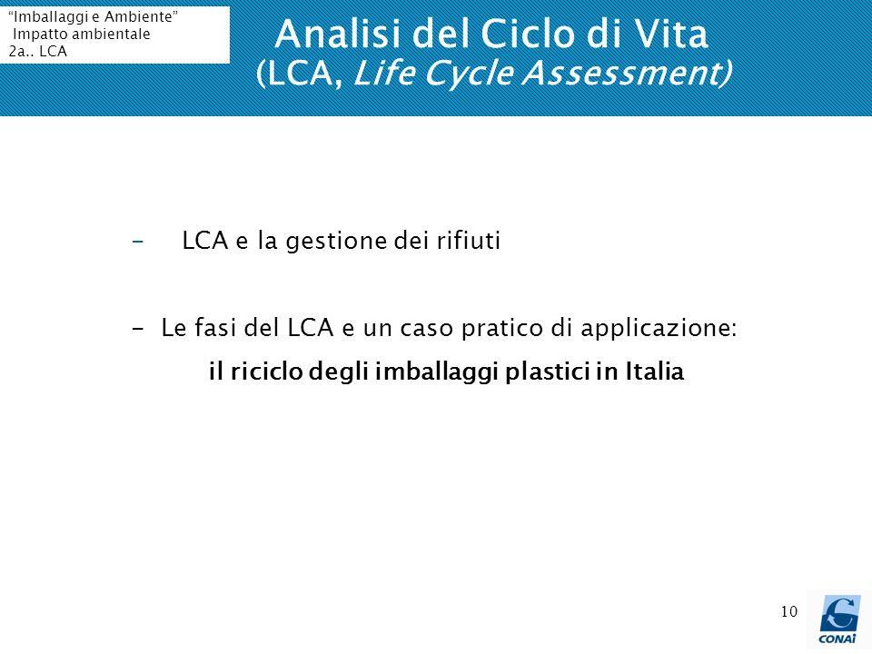 10 Analisi del Ciclo di Vita (LCA, Life Cycle Assessment) -LCA e la gestione dei rifiuti - Le fasi del LCA e un caso pratico di applicazione: il riciclo degli imballaggi plastici in Italia Imballaggi e Ambiente Impatto ambientale 2a..