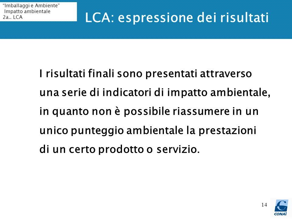 14 LCA: espressione dei risultati I risultati finali sono presentati attraverso una serie di indicatori di impatto ambientale, in quanto non è possibi