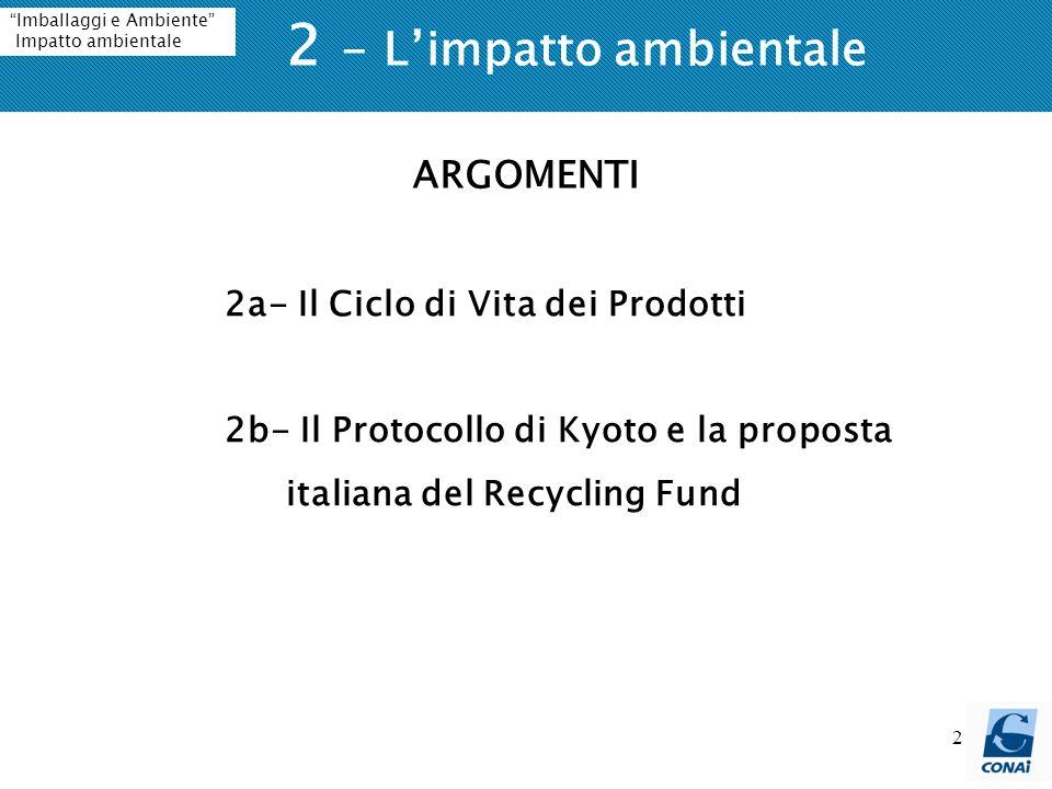 2 2 - Limpatto ambientale Imballaggi e Ambiente Impatto ambientale 2a- Il Ciclo di Vita dei Prodotti 2b- Il Protocollo di Kyoto e la proposta italiana del Recycling Fund ARGOMENTI