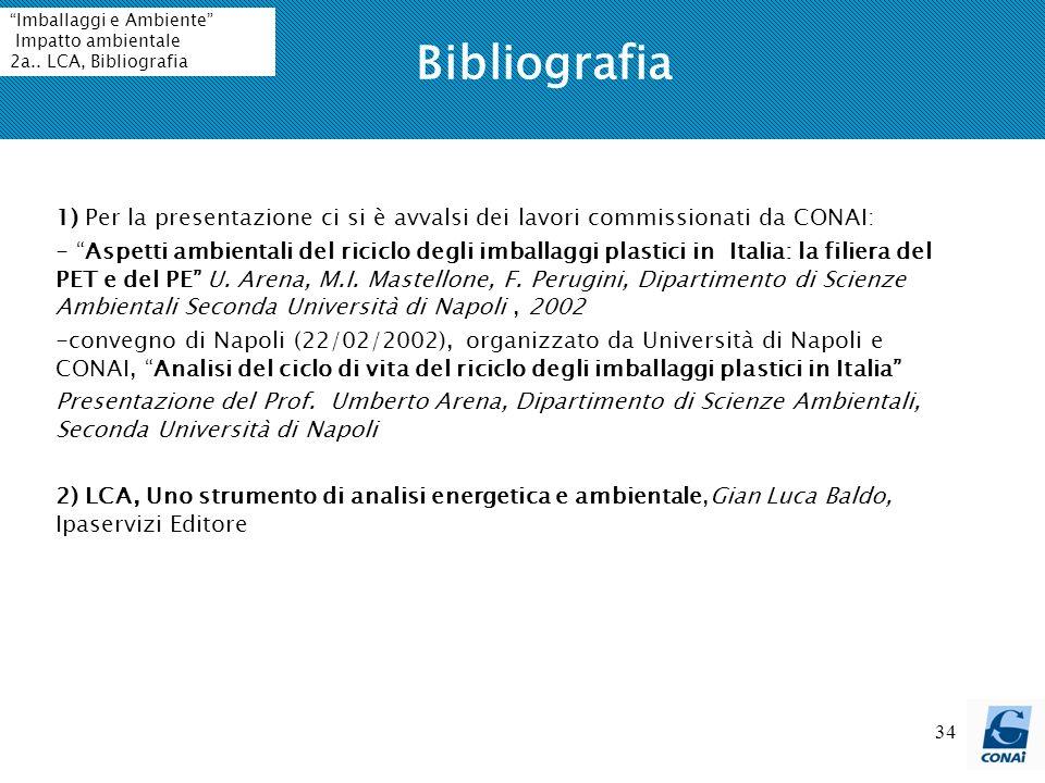 34 Bibliografia 1) Per la presentazione ci si è avvalsi dei lavori commissionati da CONAI: - Aspetti ambientali del riciclo degli imballaggi plastici in Italia: la filiera del PET e del PE U.
