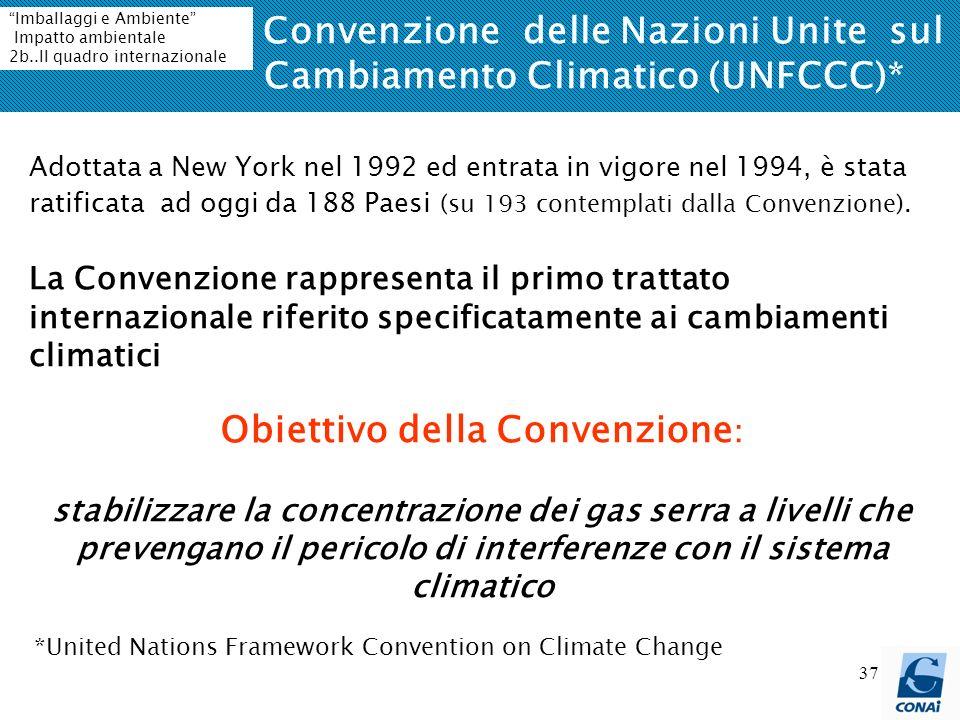 37 La Convenzione delle Nazioni Unite sul Cambiamento Climatico (UNFCCC)* *United Nations Framework Convention on Climate Change Adottata a New York nel 1992 ed entrata in vigore nel 1994, è stata ratificata ad oggi da 188 Paesi (su 193 contemplati dalla Convenzione).