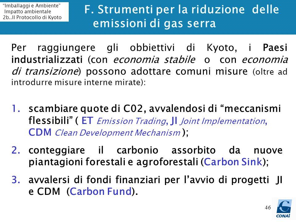 46 F. Strumenti per la riduzione delle emissioni di gas serra Per raggiungere gli obbiettivi di Kyoto, i Paesi industrializzati (con economia stabile