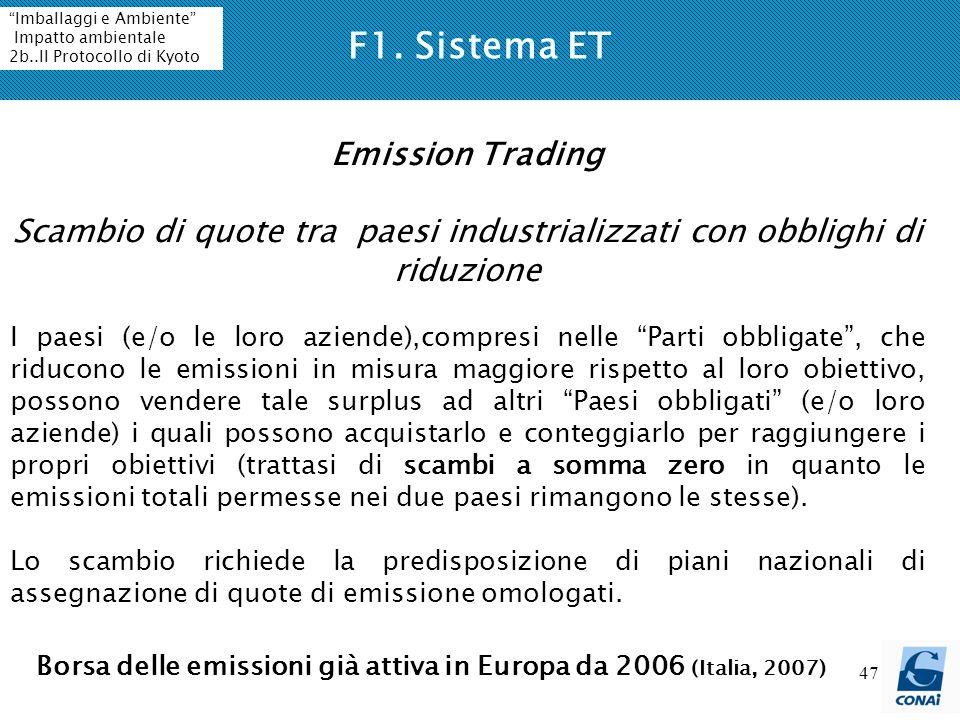 47 F1. Sistema ET Emission Trading Scambio di quote tra paesi industrializzati con obblighi di riduzione I paesi (e/o le loro aziende),compresi nelle
