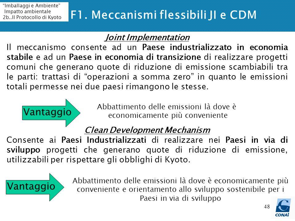 48 F1. Meccanismi flessibili JI e CDM Joint Implementation Il meccanismo consente ad un Paese industrializzato in economia stabile e ad un Paese in ec
