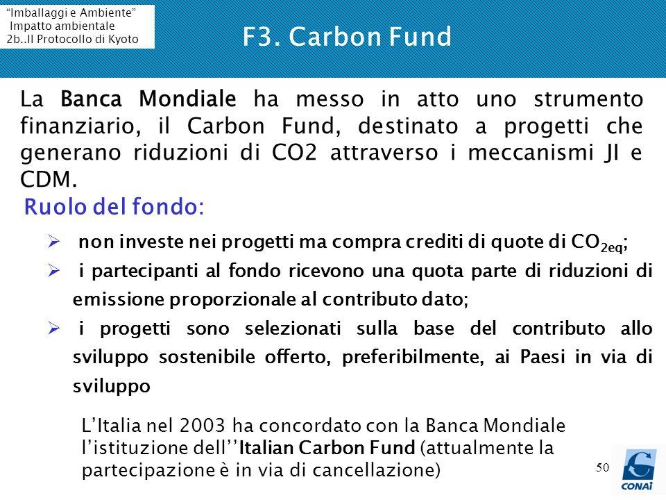 50 La Banca Mondiale ha messo in atto uno strumento finanziario, il Carbon Fund, destinato a progetti che generano riduzioni di CO2 attraverso i meccanismi JI e CDM.