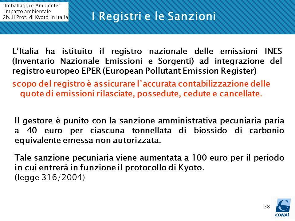 58 I Registri e le Sanzioni LItalia ha istituito il registro nazionale delle emissioni INES (Inventario Nazionale Emissioni e Sorgenti) ad integrazion