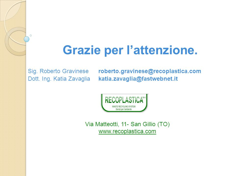 Grazie per lattenzione. Sig. Roberto Gravineseroberto.gravinese@recoplastica.com Dott. Ing. Katia Zavaglia katia.zavaglia@fastwebnet.it www.zamaza.com
