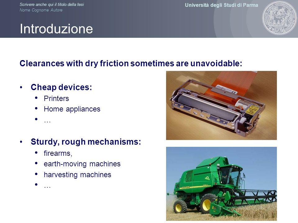 Università degli Studi di Parma Scrivere anche qui il titolo della tesi Nome Cognome Autore Introduzione Clearances with dry friction sometimes are un