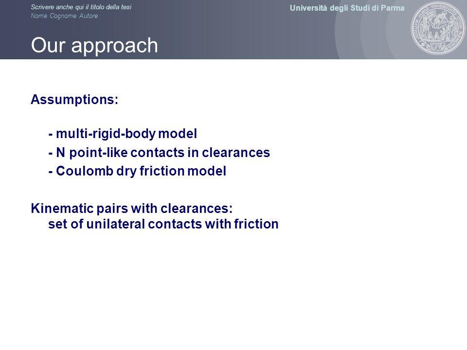 Università degli Studi di Parma Scrivere anche qui il titolo della tesi Nome Cognome Autore Our approach Assumptions: - multi-rigid-body model - N poi
