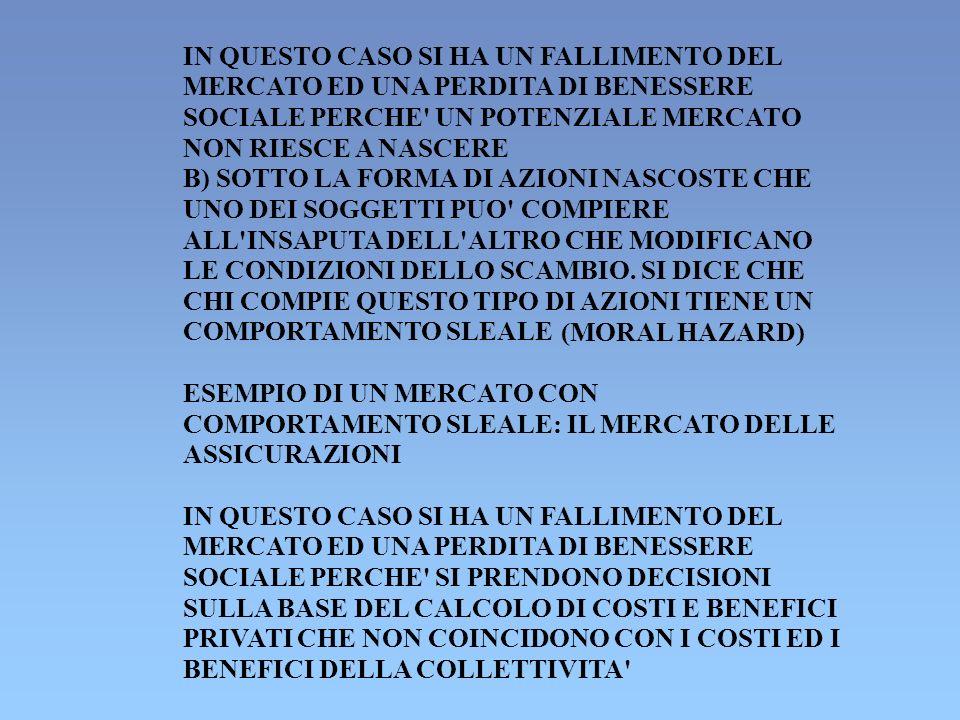 UN CASO DI SELEZIONE AVVERSA: IL MERCATO DEI BIDONI (AKERLOF, 1970) I DATI DEL PROBLEMA: - 100 PERSONE DESIDERANO ACQUISTARE UN AUTOMOBILE USATA - 100 PERSONE DESIDERANO VENDERE UN AUTOMOBILE USATA - ACQUIRENTI E VENDITORI SANNO CHE 50 AUTO DELLE 100 SONO DI BUONA QUALITA E LE ALTRE DI CATTIVA QUALITA - GLI ACQUIRENTI HANNO UN PREZZO DI RISERVA DI 2.400 PER LE AUTO DI BUONA QUALITA - GLI ACQUIRENTI HANNO UN PREZZO DI RISERVA DI 1.000 PER LE AUTO DI CATTIVA QUALITA - I VENDITORI SONO DISPOSTI A VENDERE LE AUTO DI BUONA QUALITA AD UN PREZZO NON INFERIORE A 2.000 - I VENDITORI SONO DISPOSTI A VENDERE LE AUTO DI CATTIVA QUALITA AD UN PREZZO NON INFERIORE A 1.000