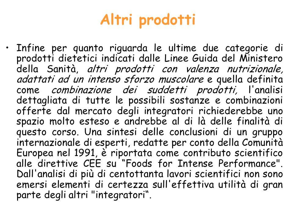 Altri prodotti Infine per quanto riguarda le ultime due categorie di prodotti dietetici indicati dalle Linee Guida del Ministero della Sanità, altri p