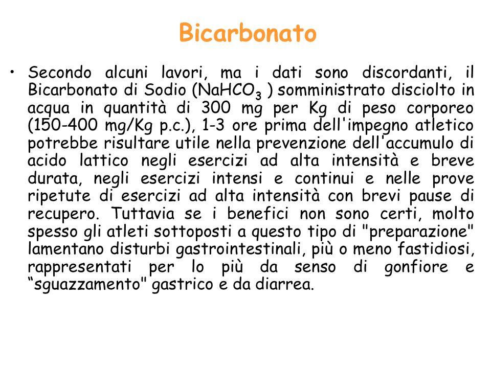 Bicarbonato Secondo alcuni lavori, ma i dati sono discordanti, il Bicarbonato di Sodio (NaHCO 3 ) somministrato disciolto in acqua in quantità di 300