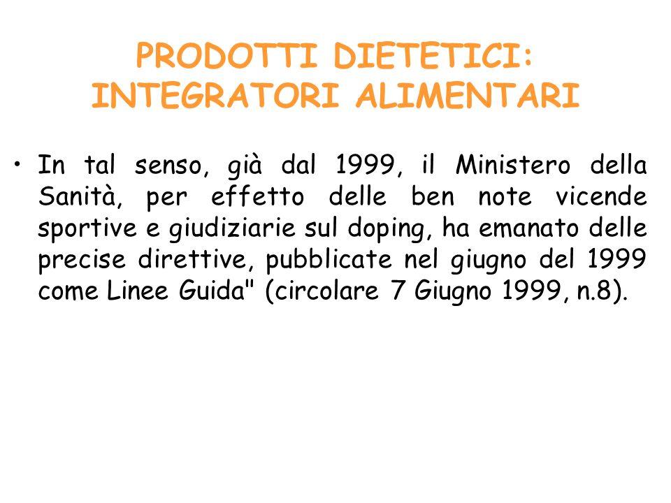 Normativa italiana A)Integrazione energetica B)Integrazione idro-salina C)Integrazione proteica D)Integrazione di amminoacidi e derivati E)Altri prodotti F)Combinazioni dei suddetti