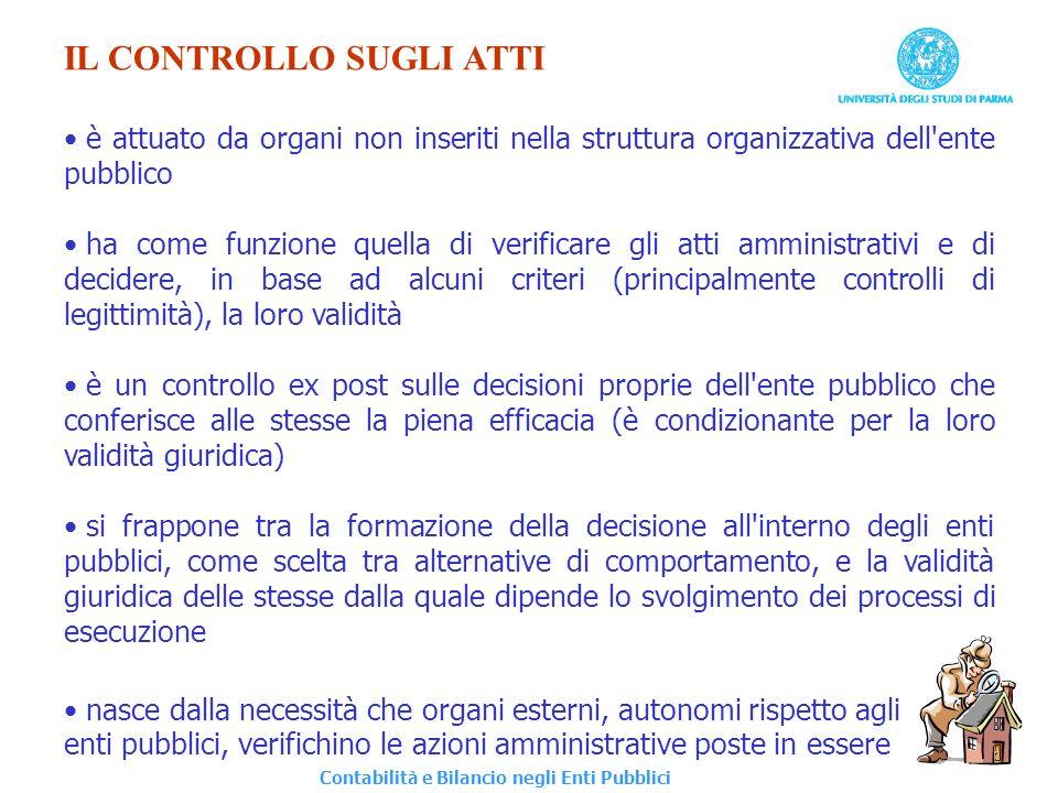 IL CONTROLLO SUGLI ATTI è attuato da organi non inseriti nella struttura organizzativa dell'ente pubblico ha come funzione quella di verificare gli at