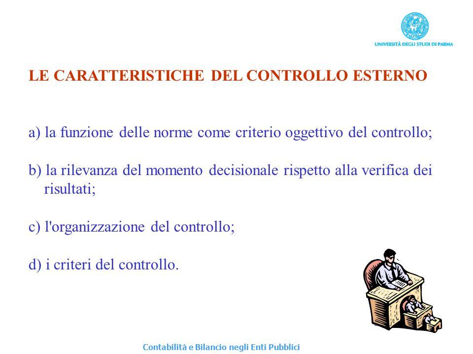 LE CARATTERISTICHE DEL CONTROLLO ESTERNO a) la funzione delle norme come criterio oggettivo del controllo; b) la rilevanza del momento decisionale ris