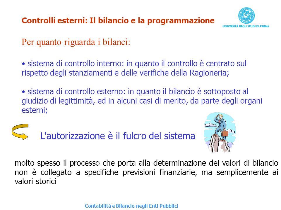 Controlli esterni: Il bilancio e la programmazione Per quanto riguarda i bilanci: sistema di controllo interno: in quanto il controllo è centrato sul