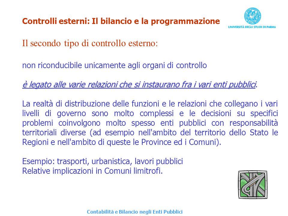 Controlli esterni: Il bilancio e la programmazione Il secondo tipo di controllo esterno: non riconducibile unicamente agli organi di controllo è legat