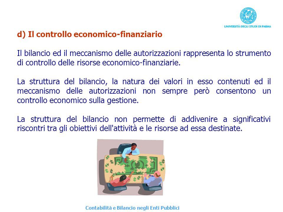 d) Il controllo economico-finanziario Il bilancio ed il meccanismo delle autorizzazioni rappresenta lo strumento di controllo delle risorse economico-