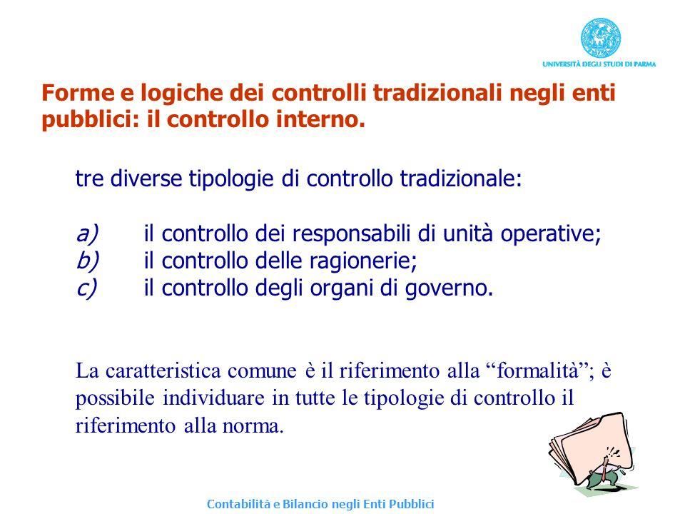 Forme e logiche dei controlli tradizionali negli enti pubblici: il controllo interno. tre diverse tipologie di controllo tradizionale: a)il controllo