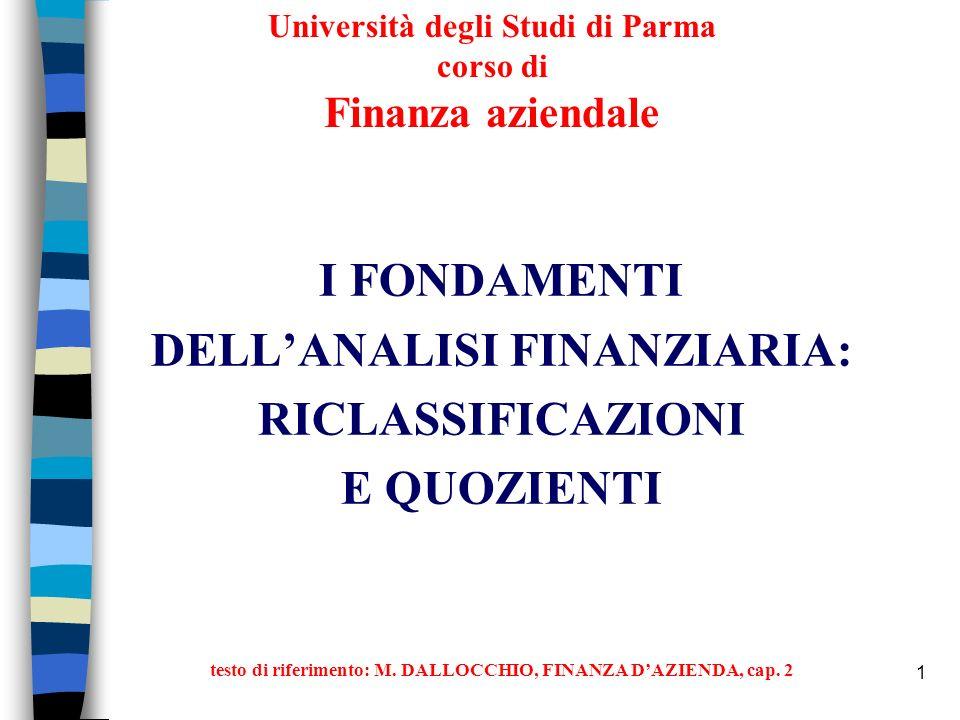 1 Università degli Studi di Parma corso di Finanza aziendale I FONDAMENTI DELLANALISI FINANZIARIA: RICLASSIFICAZIONI E QUOZIENTI testo di riferimento: