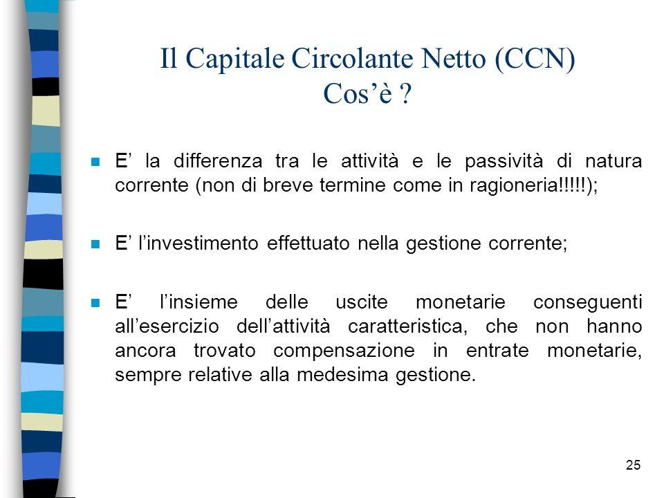25 Il Capitale Circolante Netto (CCN) Cosè ? n E la differenza tra le attività e le passività di natura corrente (non di breve termine come in ragione