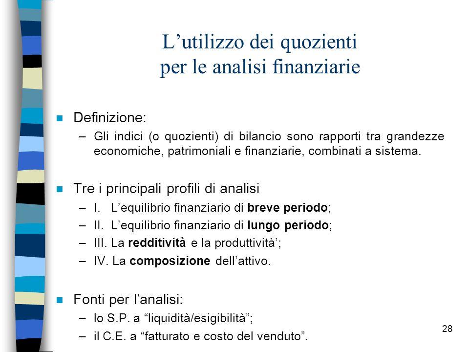 28 Lutilizzo dei quozienti per le analisi finanziarie n Definizione: –Gli indici (o quozienti) di bilancio sono rapporti tra grandezze economiche, pat