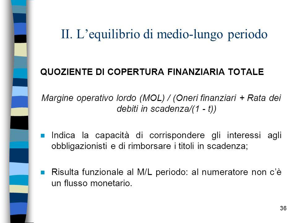 36 II. Lequilibrio di medio-lungo periodo QUOZIENTE DI COPERTURA FINANZIARIA TOTALE Margine operativo lordo (MOL) / (Oneri finanziari + Rata dei debit