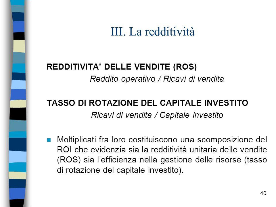 40 III. La redditività REDDITIVITA DELLE VENDITE (ROS) Reddito operativo / Ricavi di vendita TASSO DI ROTAZIONE DEL CAPITALE INVESTITO Ricavi di vendi
