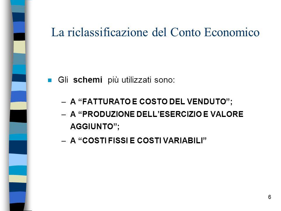 6 La riclassificazione del Conto Economico n Gli schemi più utilizzati sono: –A FATTURATO E COSTO DEL VENDUTO; –A PRODUZIONE DELLESERCIZIO E VALORE AG