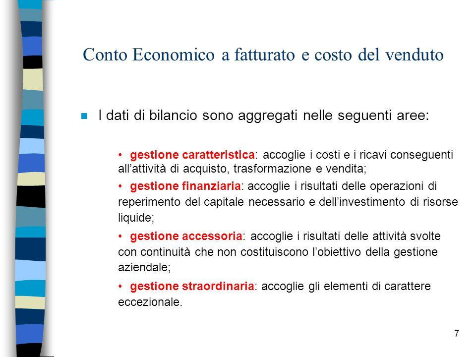 7 Conto Economico a fatturato e costo del venduto n I dati di bilancio sono aggregati nelle seguenti aree: gestione caratteristica: accoglie i costi e