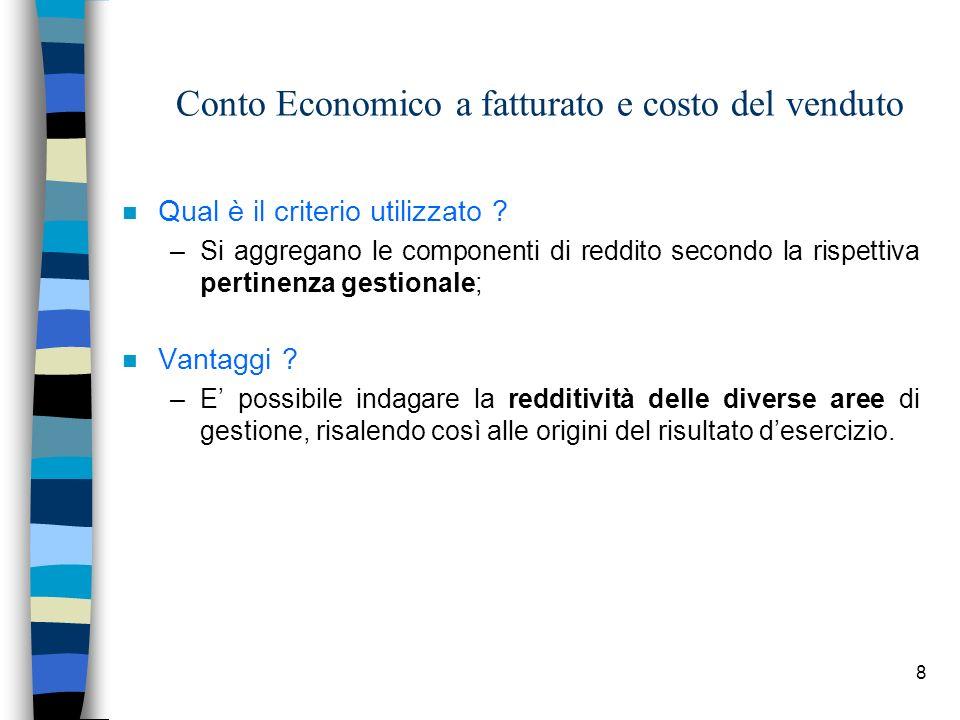 8 Conto Economico a fatturato e costo del venduto n Qual è il criterio utilizzato ? –Si aggregano le componenti di reddito secondo la rispettiva perti