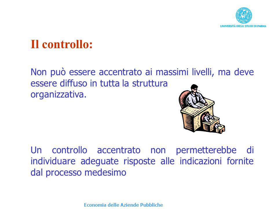 Economia delle Aziende Pubbliche Il controllo: Non può essere accentrato ai massimi livelli, ma deve essere diffuso in tutta la struttura organizzativ