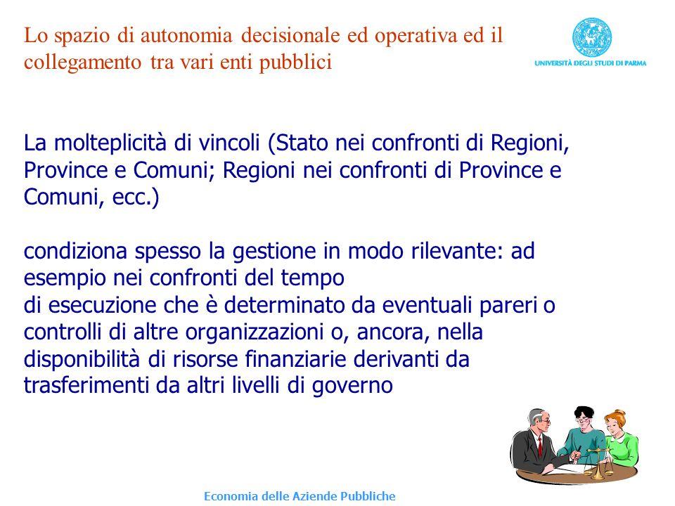 Economia delle Aziende Pubbliche Lo spazio di autonomia decisionale ed operativa ed il collegamento tra vari enti pubblici La molteplicità di vincoli