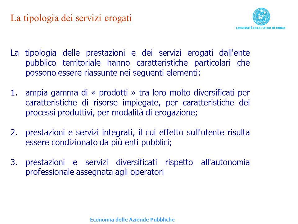 Economia delle Aziende Pubbliche La tipologia dei servizi erogati La tipologia delle prestazioni e dei servizi erogati dall'ente pubblico territoriale