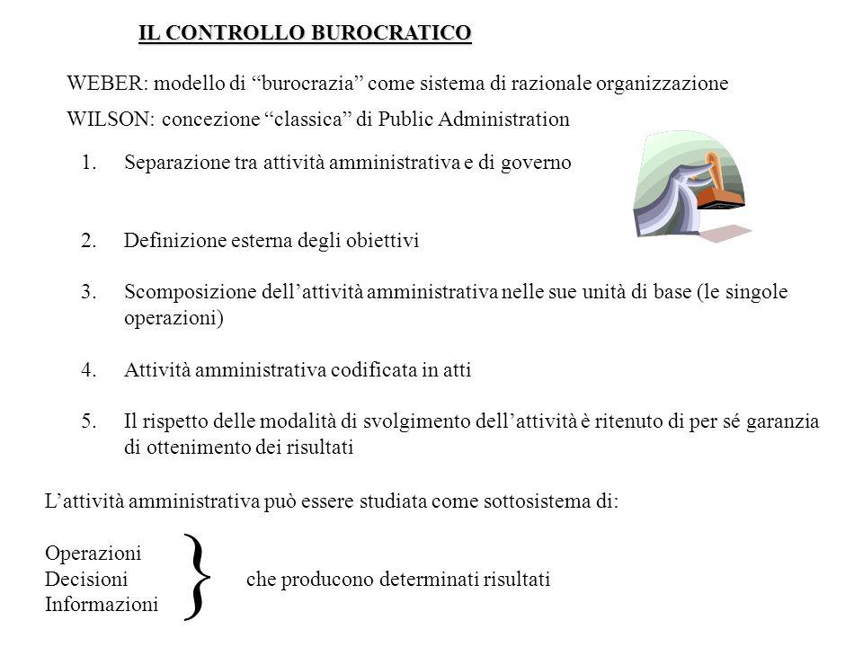 IL CONTROLLO BUROCRATICO WEBER: modello di burocrazia come sistema di razionale organizzazione WILSON: concezione classica di Public Administration 1.