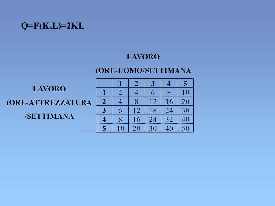 4 816243240 5 1020304050 LAVORO (ORE-UOMO/SETTIMANA LAVORO (ORE-ATTREZZATURA /SETTIMANA Q=F(K,L)=2KL