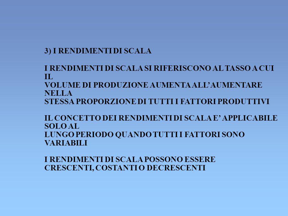 3) I RENDIMENTI DI SCALA I RENDIMENTI DI SCALA SI RIFERISCONO AL TASSO A CUI IL VOLUME DI PRODUZIONE AUMENTA ALLAUMENTARE NELLA STESSA PROPORZIONE DI