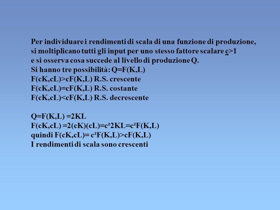 Per individuare i rendimenti di scala di una funzione di produzione, si moltiplicano tutti gli input per uno stesso fattore scalare c>1 e si osserva c