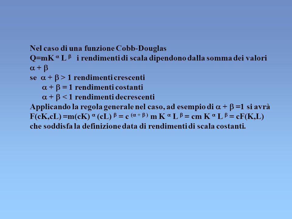 Nel caso di una funzione Cobb-Douglas Q=mK L i rendimenti di scala dipendono dalla somma dei valori + se + > 1 rendimenti crescenti + = 1 rendimenti c