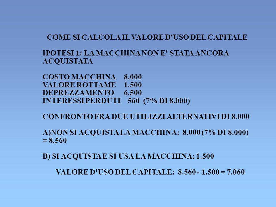COME SI CALCOLA IL VALORE D'USO DEL CAPITALE IPOTESI 1: LA MACCHINA NON E' STATA ANCORA ACQUISTATA COSTO MACCHINA8.000 VALORE ROTTAME1.500 DEPREZZAMEN