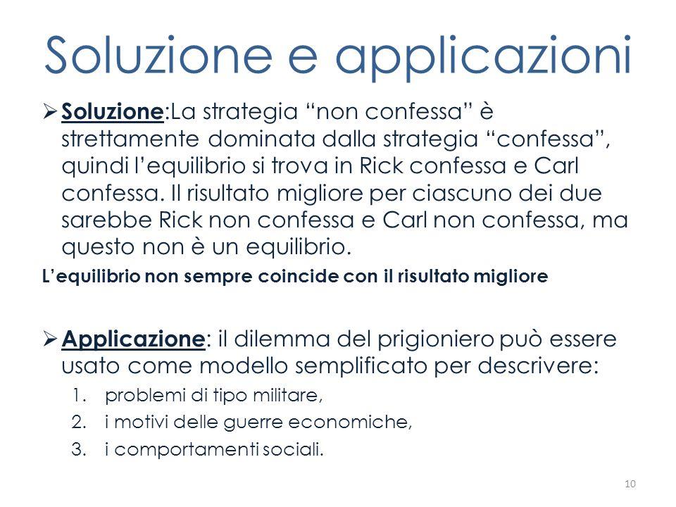 Soluzione e applicazioni Soluzione :La strategia non confessa è strettamente dominata dalla strategia confessa, quindi lequilibrio si trova in Rick co
