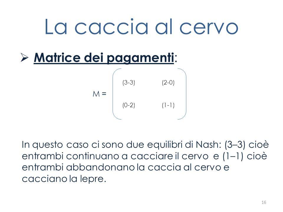 La caccia al cervo Matrice dei pagamenti : M = 16 (3-3) (2-0) (0-2) (1-1) In questo caso ci sono due equilibri di Nash: (3–3) cioè entrambi continuano