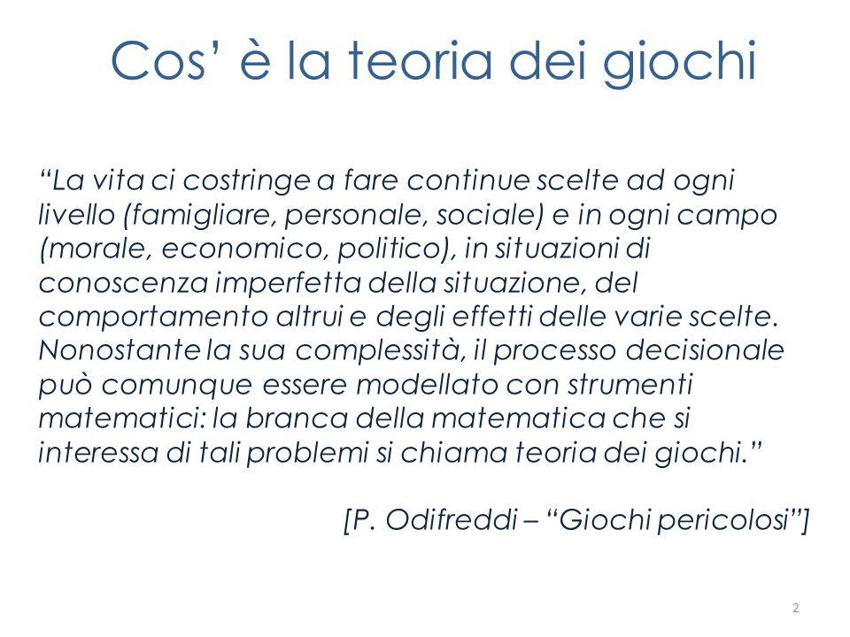 La corsa del coniglio Matrice dei pagamenti : M = 13 (2-2) (1-3) (3-1) (0-0) Ci sono due equilibri di Nash: (1,3), cioè si sposta Gianni e non si sposta Paolo; (3,1), cioè si sposta Paolo e non si sposta Gianni.