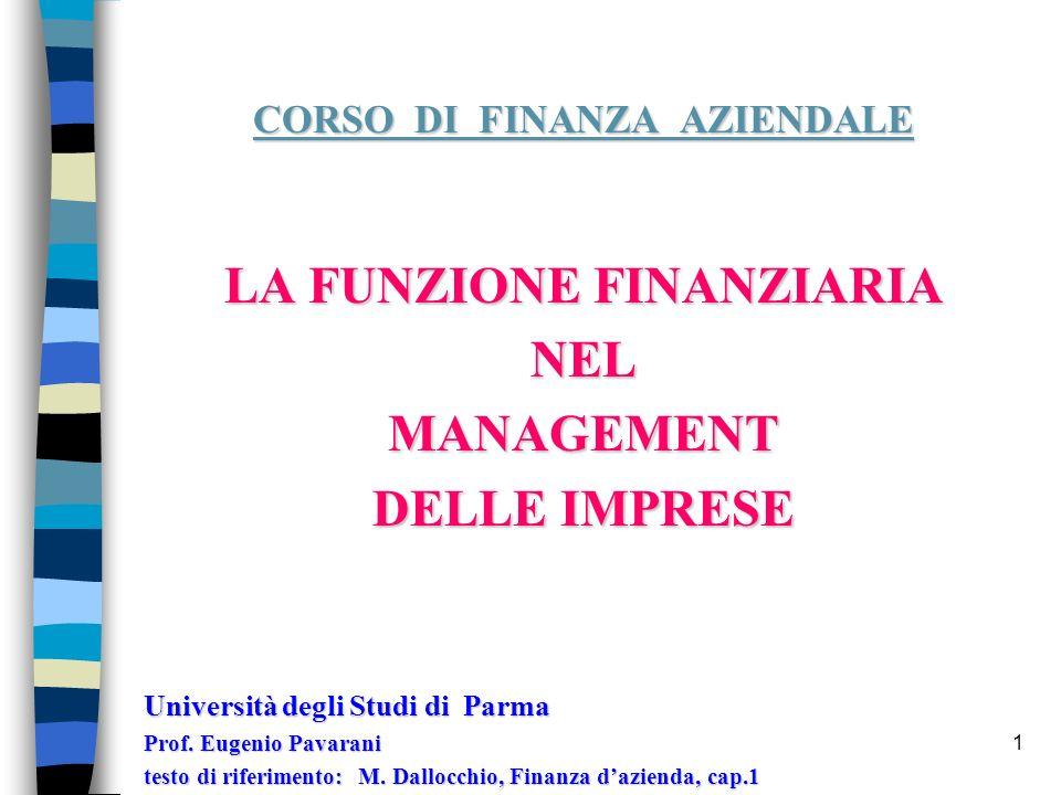 1 CORSO DI FINANZA AZIENDALE LA FUNZIONE FINANZIARIA NELMANAGEMENT DELLE IMPRESE Università degli Studi di Parma Prof.